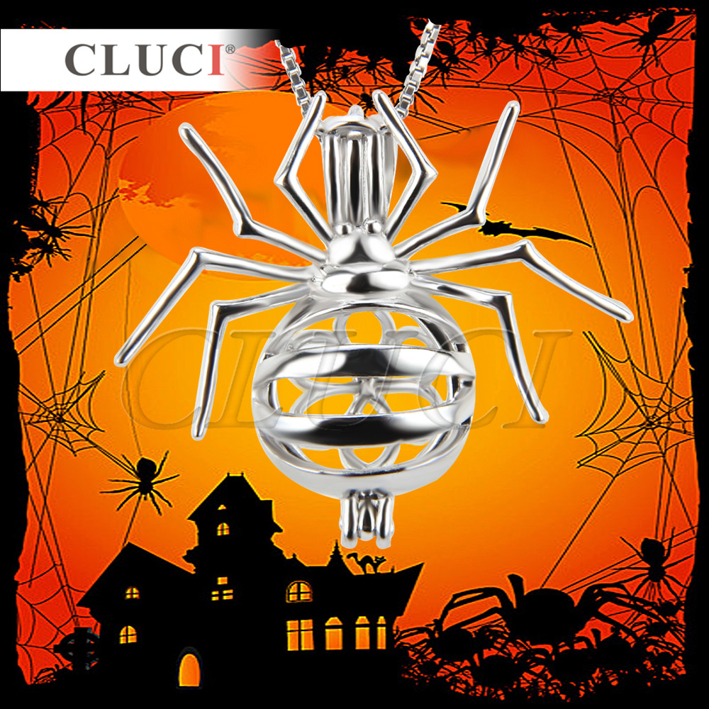 CLUCI silver 925 jewelry Spider Cage Pendant Hallowmas Night 1pc, cute charms diy necklaces