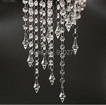 33 Feet/10PCS Clear Acrylic Crystal Garland Strand Diamond Chandelier Centerpieces Manzanita Haning Wedding Party Decoration
