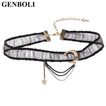 GENBOLI Moon Star Long Pendant Sexy Black Lace Choker Necklace Modern Fashion Design Buckle Design Neck Accessories(China)