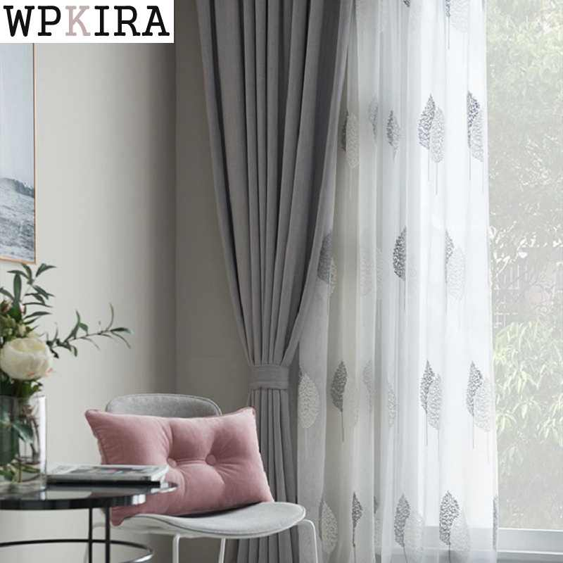 High Quality Embroidered Linen Blind Curtain Window Screen For Living Room Nordic Grey Leaves Kitchen Tulle Curtains S071&30