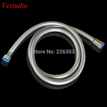 Vestudio 150cm Silver gray Plating PVC Shower hoses shattaf hoses bathroom shower accessories free shipping(China)