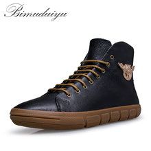 BIMUDUIYU Brand New Men Winter/Autumn Boots Warm Genuine Leather Waterproof Motorcycle Boots Plus Size Snow Boots Free Shipping
