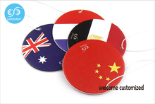 Mini countries flags air freshener cheap price wholesale 36pcs/lot free shipping custom round paper car perfume