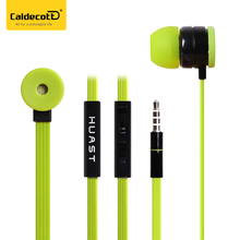 Caldecott HST-38 noise cancelling earphones colorful flat cable in-ear earphone for iphone samsung huawei mobile phone