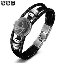 New 2017 Fashion Men's Leather Bracelets Rock Punk Skeleton Charms Cuff Poker Bracelet Bangles Women Jewelry Male Accessories(China)