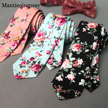 Mantieqingway Floral Ties For Men Skinny Mens Ties Gravatas Slim Corbatas Vestidos Wedding Cotton Groom Neck Tie Cravat Necktie(China)