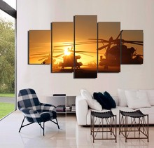 Painting Art Wall Frames Pictures For Living Room Poster 5 Panel Navy Helicopters Landscape Home Decor Canvas HD Printed PENGDA(China)
