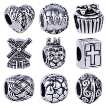1pc Free Shipping Silver Bead Charm European Cross Book Heart Family Windmill Bead Fit Pandora Bracelets & Necklace