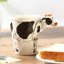 Free Shipping, The First Stereoscopic 3D Hand-Painted Ceramic Animal Cup Cows Paragraph, Mugs, Cups, Milk.