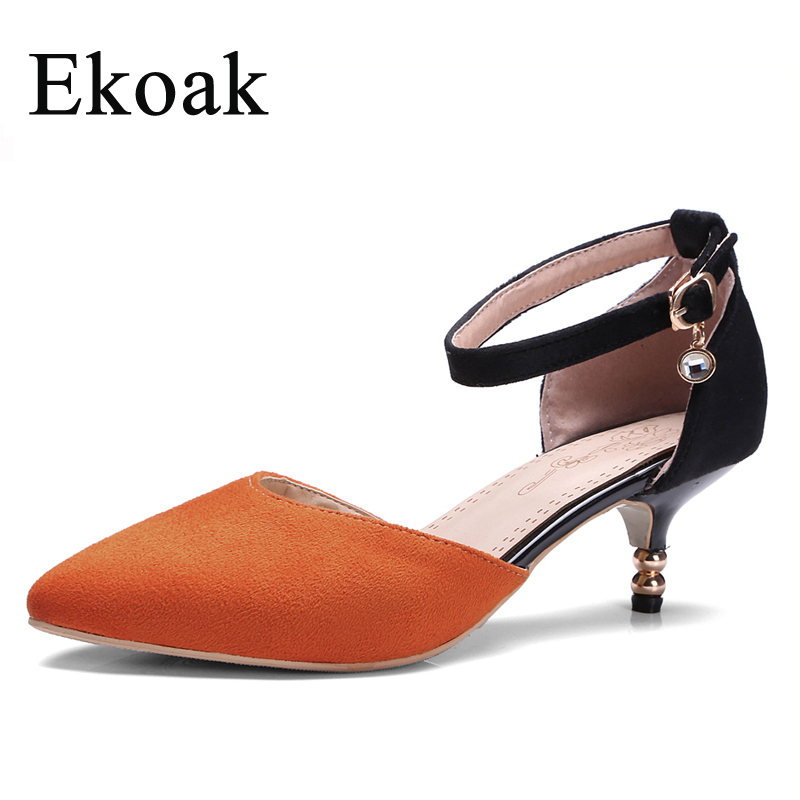 Ekoak Size 35-43 New 2017 Spring Summer Shoes Ankle Strap Women Pumps Ladies Fashion High Heels Sandals Party Dress Shoes Woman<br><br>Aliexpress