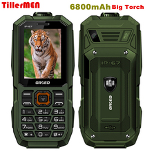 6800mAh Big Torch Sound Speaker large battery and letters Dual sim GSM FM Senior Elder shockproof dustproof cell phone(China)