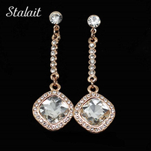 2017 fashion jewelry wholesales earrings studs Import Austrian Crystal White Gold Color stud Earring Ear Decoration 4223(China)