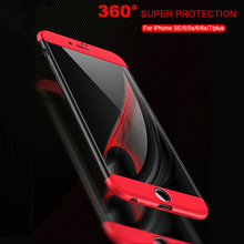 Luxury 360 Degree Case For iPhone 6 6s 5s 7 plus cases Full Cover Protective Premium Screen Protector Film Safety for iPhone SE(China)