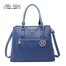 YD6611 MISS LULU Women Leather Handbags Ladies Designer M Top-handle Bag Navy Cross Body Shoulder Bags with 3 Compartments