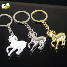 Car Accessory Auto Car Keychain Metal Animal Goat Key Rings Key Holder For Isuzu GMC MG Ducati Dacia Corvette Mitsubishi Nissan(China)