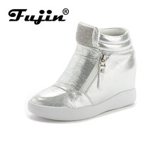 Fujin Brand autumn winter platform wedge heel boots Women Shoes with increased platform sole female fashion casual zip botas(China)