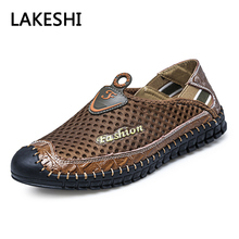 Mens Shoes Breathable Mesh Casual Shoes Genuine Leather Slip On Brand Fashion Summer Shoes Outdoor Sports Shoes(China)