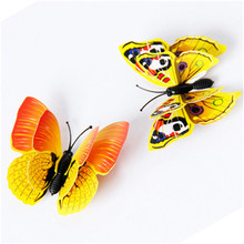 12pcs 3D double layer feather butterfly sticker Fridge Magnet decal ice box/refridgerator decor magnetic sticker butterfly 2016