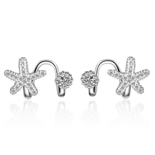 JEXXI No Piercing Earring Silver Rose Gold Mosaic Starfish Clip Earrings for Women African AAA Crystal Star Ear Jacket Jewelry
