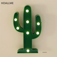 Cute Cactus Light Romantic 3D Lamp LED Baby Night Light Dim Mood Lamp 2AA Battery Operated Child's Room Christmas Decoration