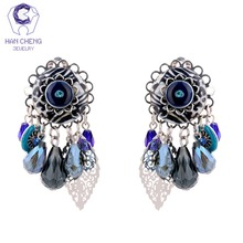 Buy HanCheng New Boho Bohemian Gem Stone Tassel Dangle Long Clip Earrings Women Jewelry Vintage Silver Plated bijoux brincos for $5.19 in AliExpress store