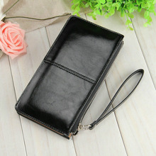 Unistyle Women Oil Wax Leather Zipper Clutch Wallet Female Candy Color Burglar Robbed Purse Lady Multi-function Phone Bag(China)