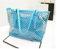 summer fashion women handbag big capacity Plastic bag shouder bag Wave point jelly candy colored sand transparent composite bag