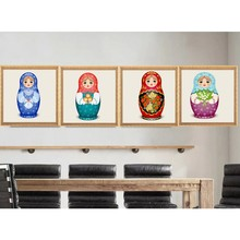 4 style available Russian Nesting Matryoshka Doll Cross Stitch Diamond Embroidery Painting DIY Home Decoration 30*30cm