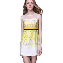 Woman OL summer dress O-neck Straight Office Yellow Floral Print Mini slim dresses Jacquard Mesh lady Mini silk Sleeveless dress
