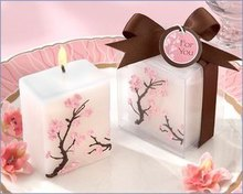 wedding Baby shower favors birthday candle gift for guests --Cherry Blossom candle party decorations 80pcs/lot(China)
