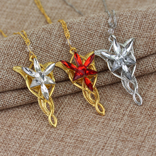 Freeshipping wholesale Gold/Silver Color The Arwen Evenstar Pendant Red/White Crystal stones Necklace from Lord