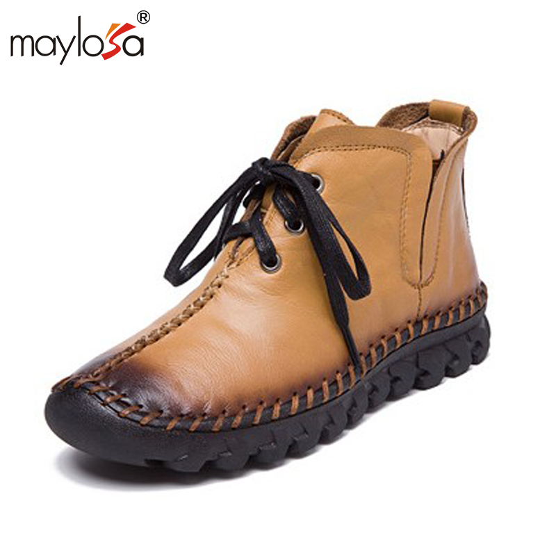 MAYLOSA New women Genuine Leather Boots Vintage Style Flat Booties Soft Cowhide Womens Shoes side Zip Ankle Boots zapatos mujer<br>