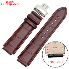 Laopijiang first layer of imported calfskin color butterfly crocodile alternative HUAWEI watch leather watch straps 22*18MM(China)