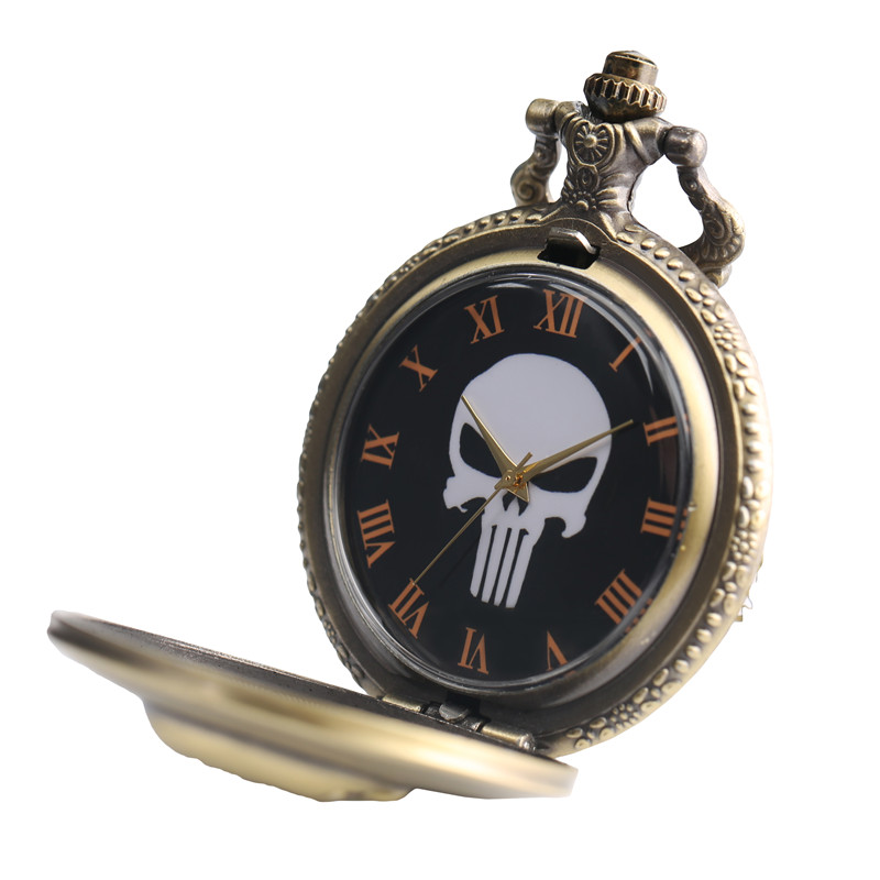 Punk Monster Pocket Watch Solid Skull Copper Sculpture Pendant Necklace Special Halloween Clock Unique Gifts for Boys Girls Teen (6)