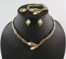 Classic Jewelry Sets Imitation simulated pearl African Gold color Bridal Acessories Costume Jewelry Sets WB-21192