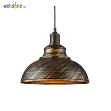 Wrought iron American simple retro new restaurant single head chandelier Jane stairs industrial new bronze pot droplight(China)