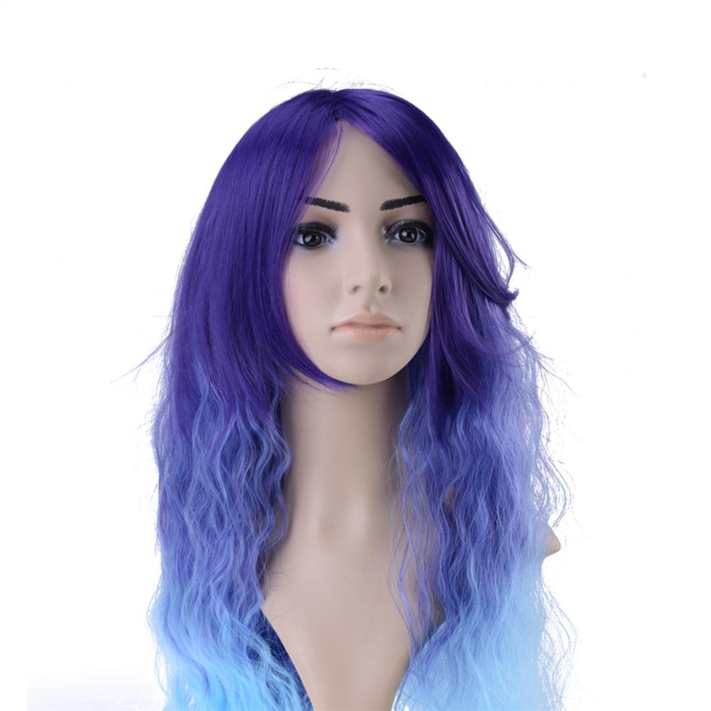 Womens Japanese Anime Wig Wavy Rhapsody Hair Blue Ombre Cosplay Costume Wig Longa Kinky Curly cabello<br><br>Aliexpress