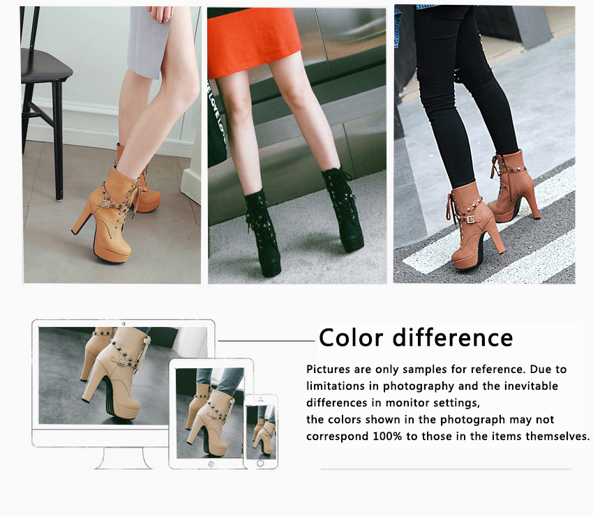 2018 Women's Ankle Boots, Rivet Design Round Toe, Pu Leather, Rubber Square High Heel, Zipper Women Boots 41