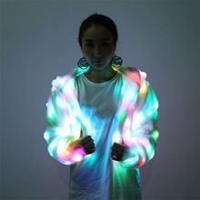 2017 LED Stage Female Faux Fur Coat Luminous Clothes Casaco Feminino Show For Dancer Singer Star Nightclub Coats Hooded S4(China)