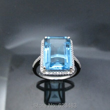 Solid 14k White Gold Engagement Wedding . Ring 14x10mm Emerald Blue Topaz