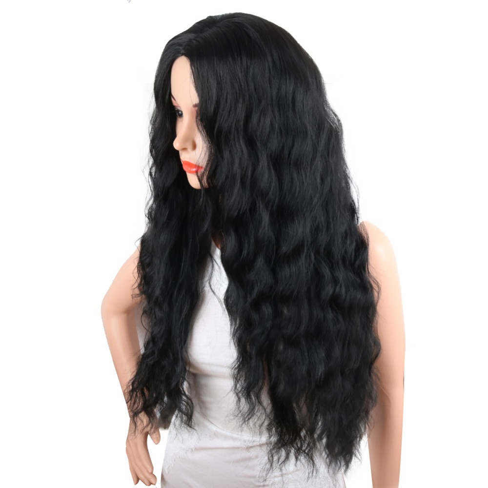 Deyngs Black Wavy Synthetic Wigs Natural Long Curly Wigs Loose Body Wave Wig Heat Resistant Full Wigs for African American Women (4)