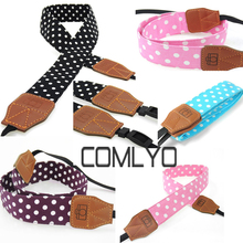 2017 Top Quality COMLYO Multicolour Polka Dot Fashion Camera Strap Neck Camera Shoulder Bags Wristband for Film SLR DSLR RF Cute
