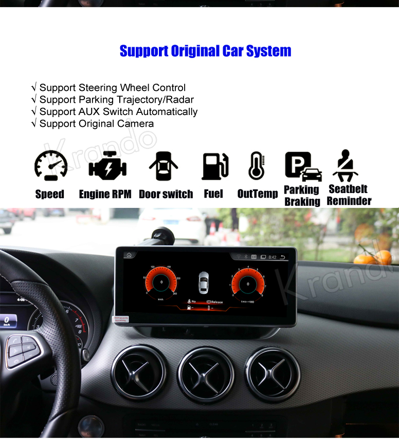 Krando 10.25'' android car radio multimedia for BENZ B CLASS W246 2016-2018 Big screen navigation with gps system (6)