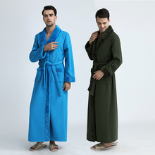 Men Extra Long Thickening Fleece Kimono fur Thermal Bath Robe Male Plus Size Winter Warm Flannel Bathrobe Mens Hot Dressing Gown(China)