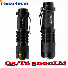 2017 hot Mini Light Cree xml t6 q5 flashlight powerful Zoomable Tactical Flashlight waterproof led torch max 3000LM ZK70(China)