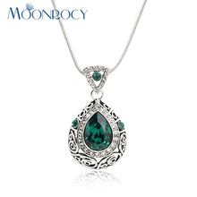 MOONROCY Free Shipping Zirconia Fashion Vintage Crystal Necklace green Austrian Crystal Necklace jewelry for woman Gift(China)