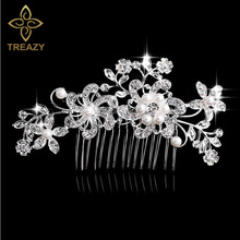 TREAZY Bridal Wedding Flower Crystal Rhinestones Diamante Simulated Pearls Women Hair Clip Hair Comb Hair Accesories