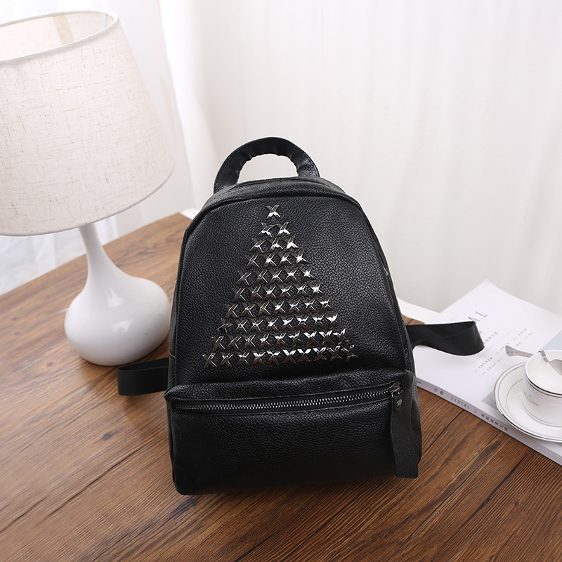 High Quality PU Leather Women Backpack Korean Style Backpack Black Mater Rivet Women Bag Girls Schoolbag<br><br>Aliexpress