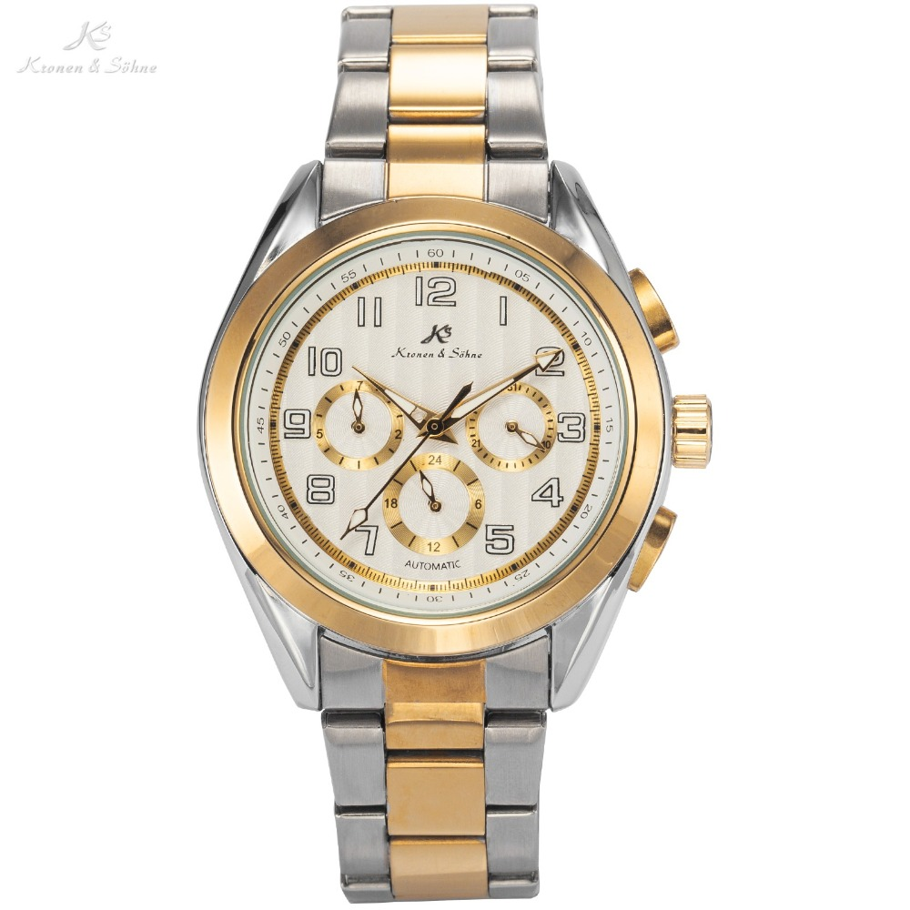 KS Brand Montre Automatic Mechanical Watches Silver Gold Steel Band Date Day Clock Relojes Hombre Self Wind Luxury Watch / KS290<br><br>Aliexpress