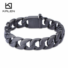 2017 Kalen New Punk Men's Jewelry 316 Stainless Steel Black Color Bracelet From China Factory Supplier Hip Hop Male Accessories